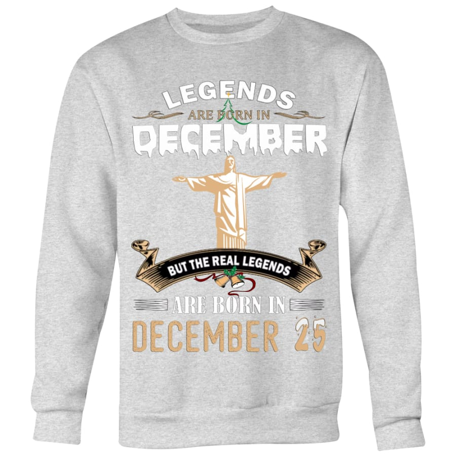 Legend Jesus Born In Christmas Sweater For Men Women (6 colors) - Crewneck Sweatshirt / Heather Grey / S