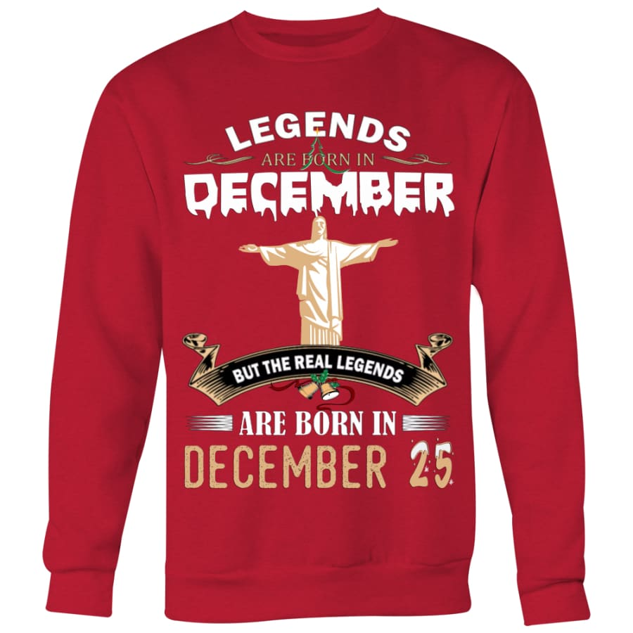 Legend Jesus Born In Christmas Sweater For Men Women (6 colors) - Crewneck Sweatshirt / Red / S