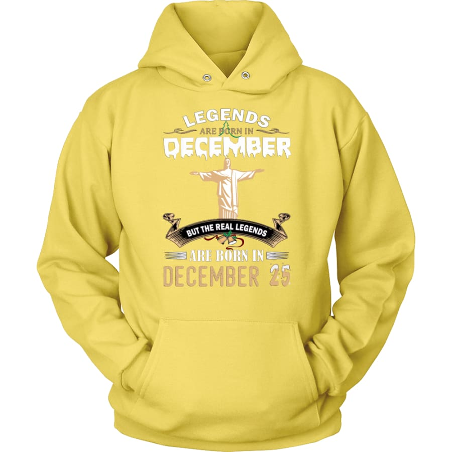 Legend Jesus Born In Christmas Unisex Hoodie (12 colors) - Yellow / S
