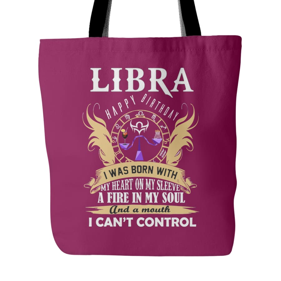 Libra Happy Birthday - A Fire In My Soul Tote Bag (4 colors) - Purple Red