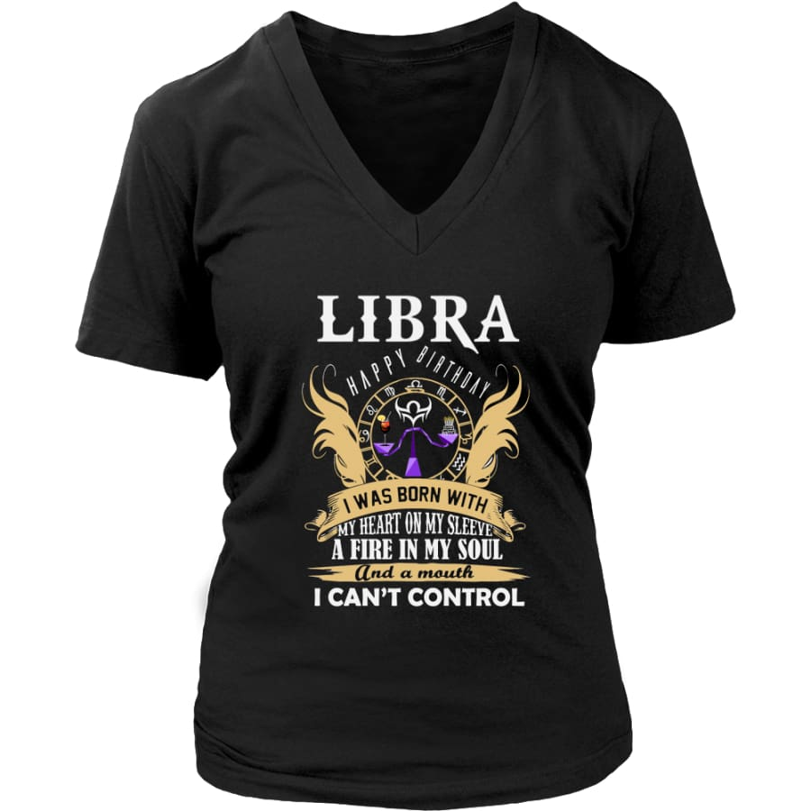 Libra Happy Birthday - A Fire In My Soul Women V-Neck T-shirt (7 colors) - District Womens / Black / S