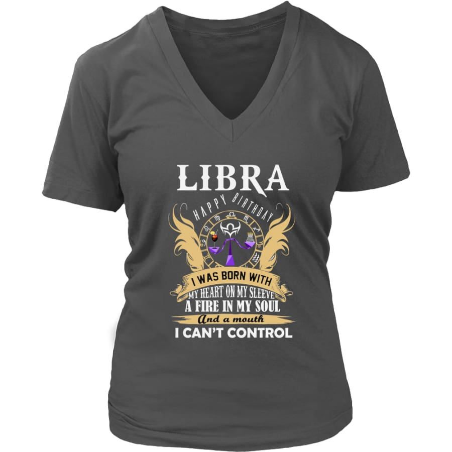 Libra Happy Birthday - A Fire In My Soul Women V-Neck T-shirt (7 colors) - District Womens / Charcoal / S