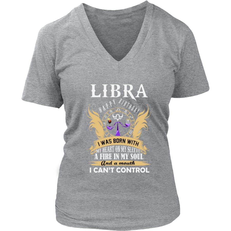 Libra Happy Birthday - A Fire In My Soul Women V-Neck T-shirt (7 colors) - District Womens / Heathered Nickel / S