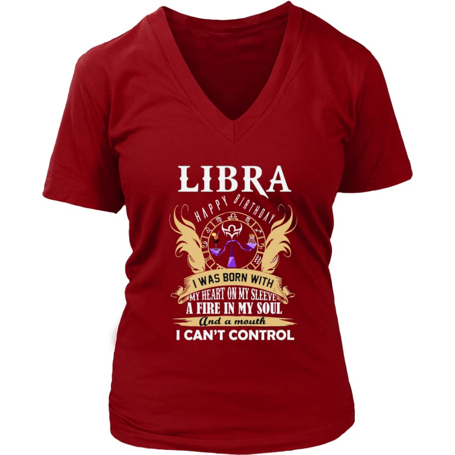 Libra Happy Birthday - A Fire In My Soul Women V-Neck T-shirt (7 colors) - District Womens / Red / S