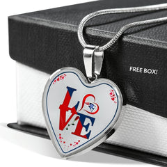 Luxury Love New England Patriots Necklace Handcrafted Can Be Engraved Any TEXT (Stainless/Gold)