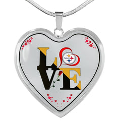 Luxury Love Pittsburgh Steelers Necklace Handcrafted Can Be Engraved Any TEXT (Stainless/Gold)