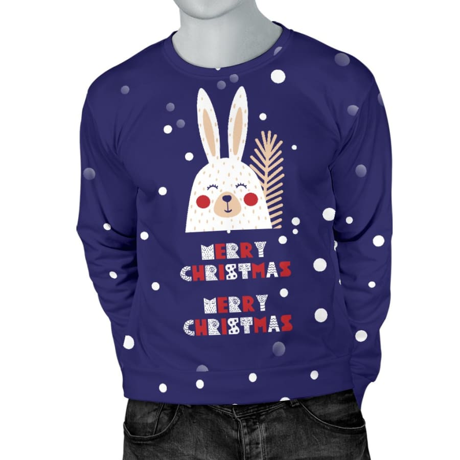 Merry Christmas Bunny Mens Sweater