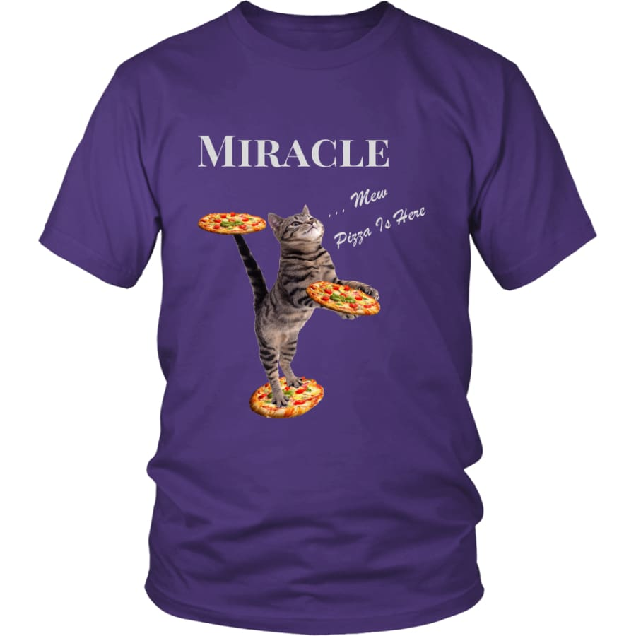 Miracle Cat District Unisex T-Shirt (12 colors) - Shirt / Purple / S
