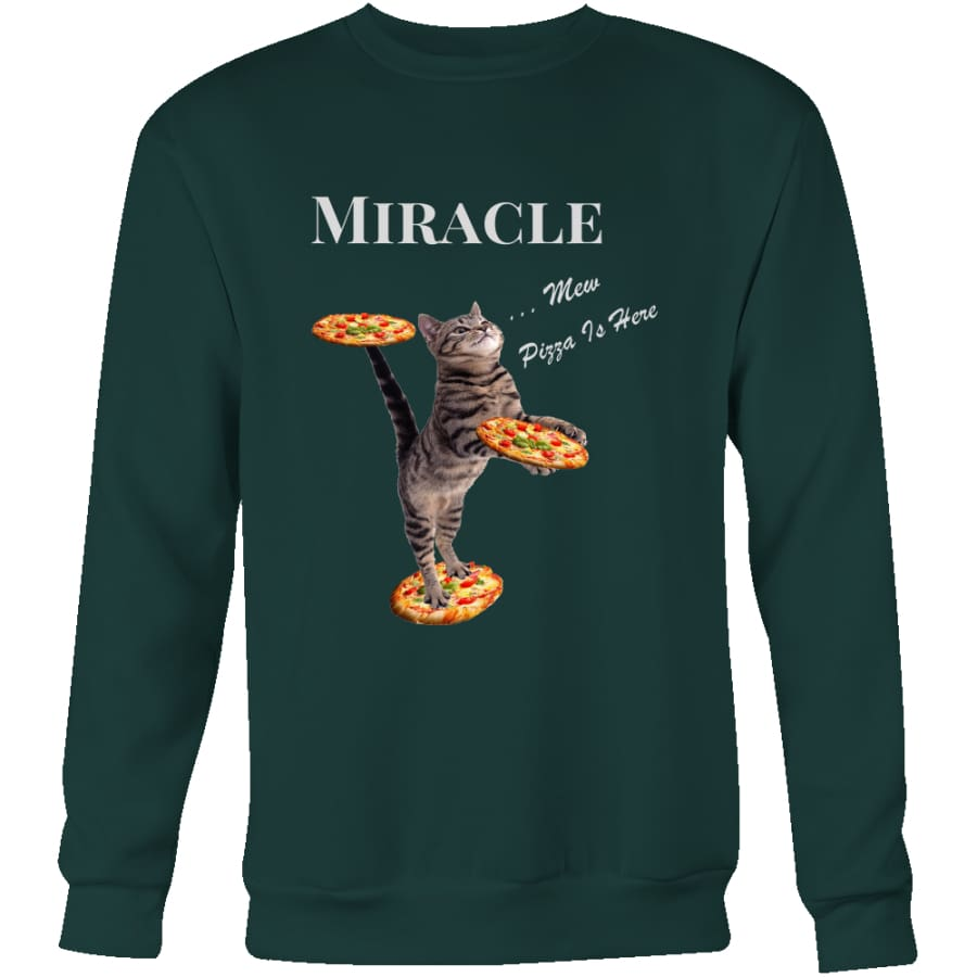 Miracle Cat Unisex Crewneck Sweatshirt (4 colors) - Dark Green / S
