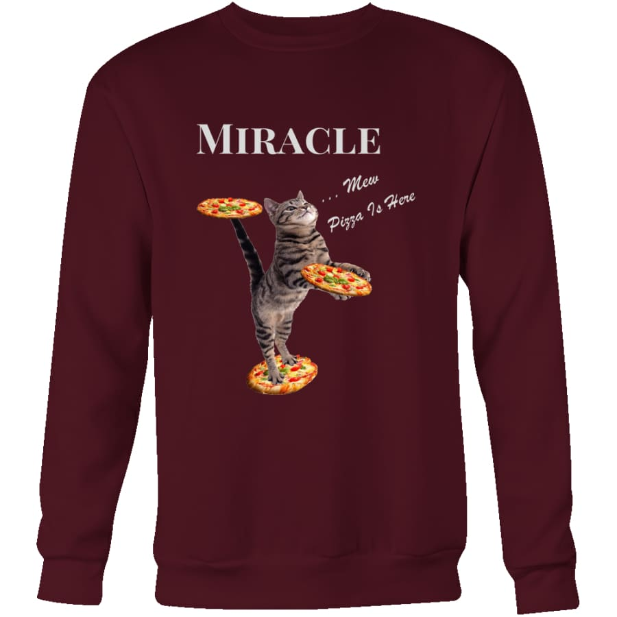 Miracle Cat Unisex Crewneck Sweatshirt (4 colors) - Maroon / S