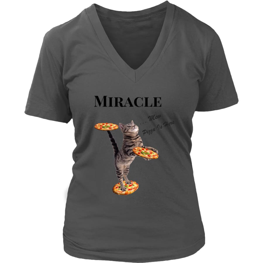 Miracle Cat Women V-Neck T-shirt (8 colors) - District Womens / Charcoal / S
