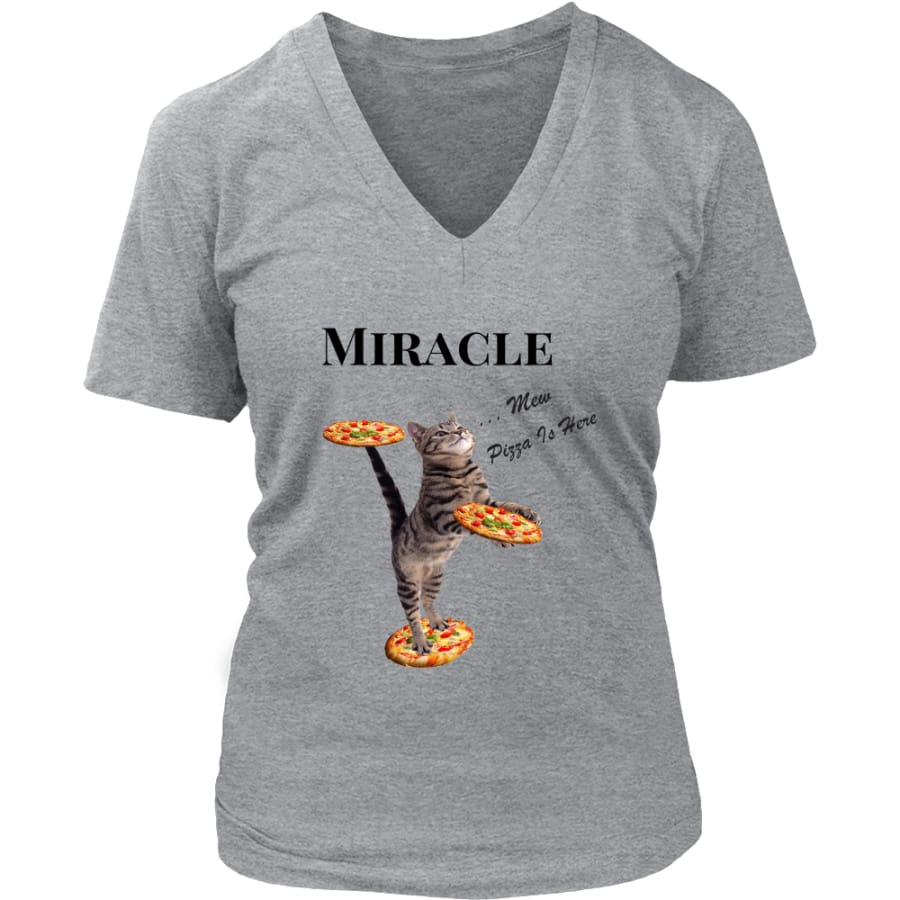 Miracle Cat Women V-Neck T-shirt (8 colors) - District Womens / Grey / S