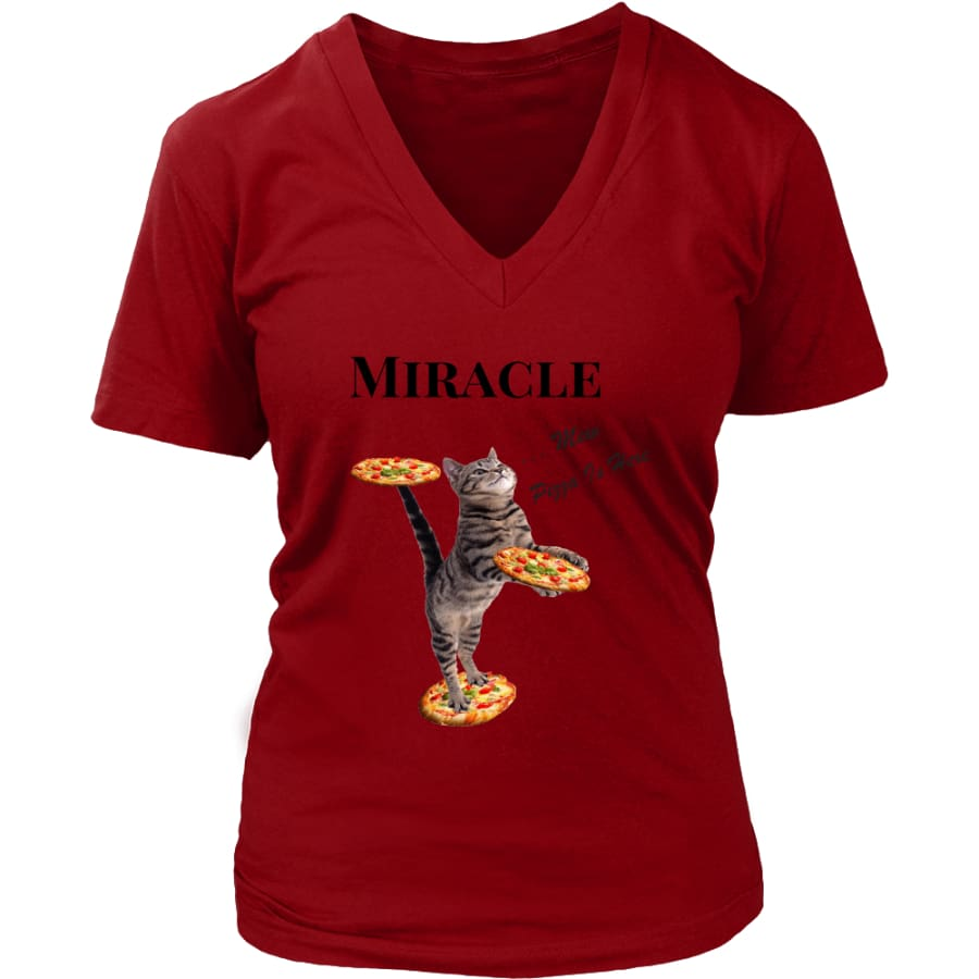 Miracle Cat Women V-Neck T-shirt (8 colors) - District Womens / Red / S