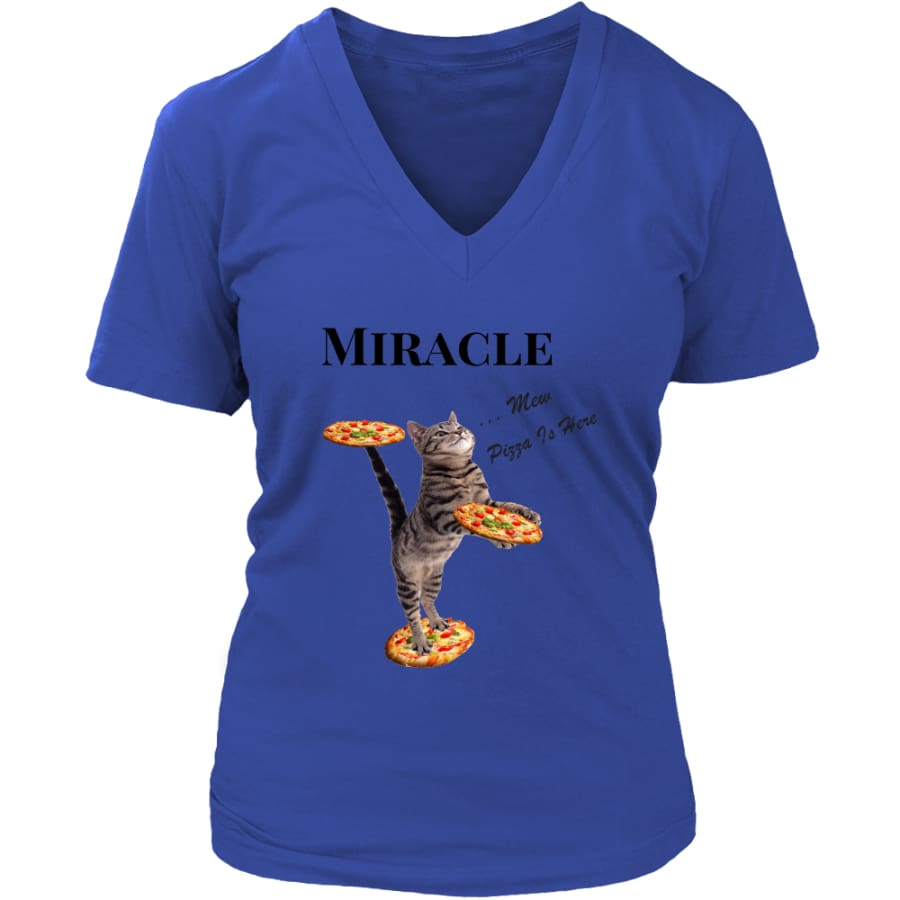 Miracle Cat Women V-Neck T-shirt (8 colors) - District Womens / Royal Blue / S