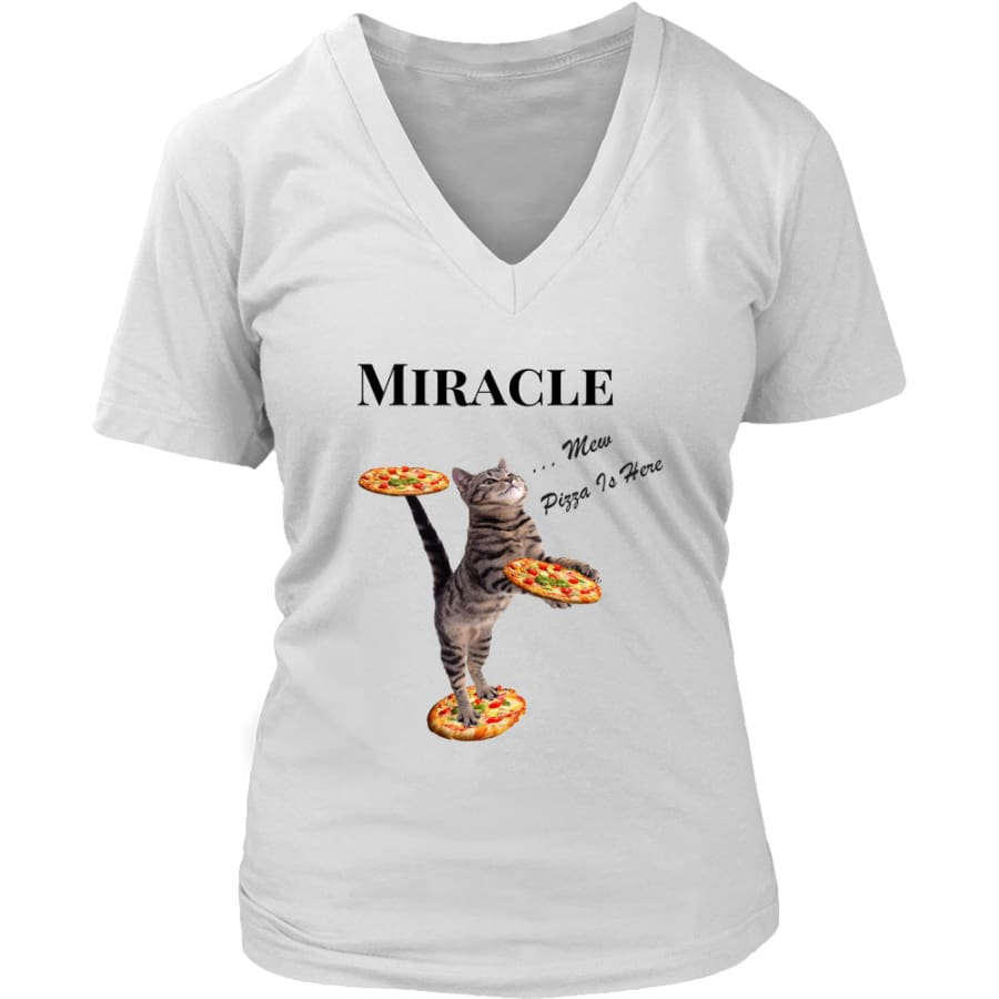 Miracle Cat Women V-Neck T-shirt (8 colors) - District Womens / White / S