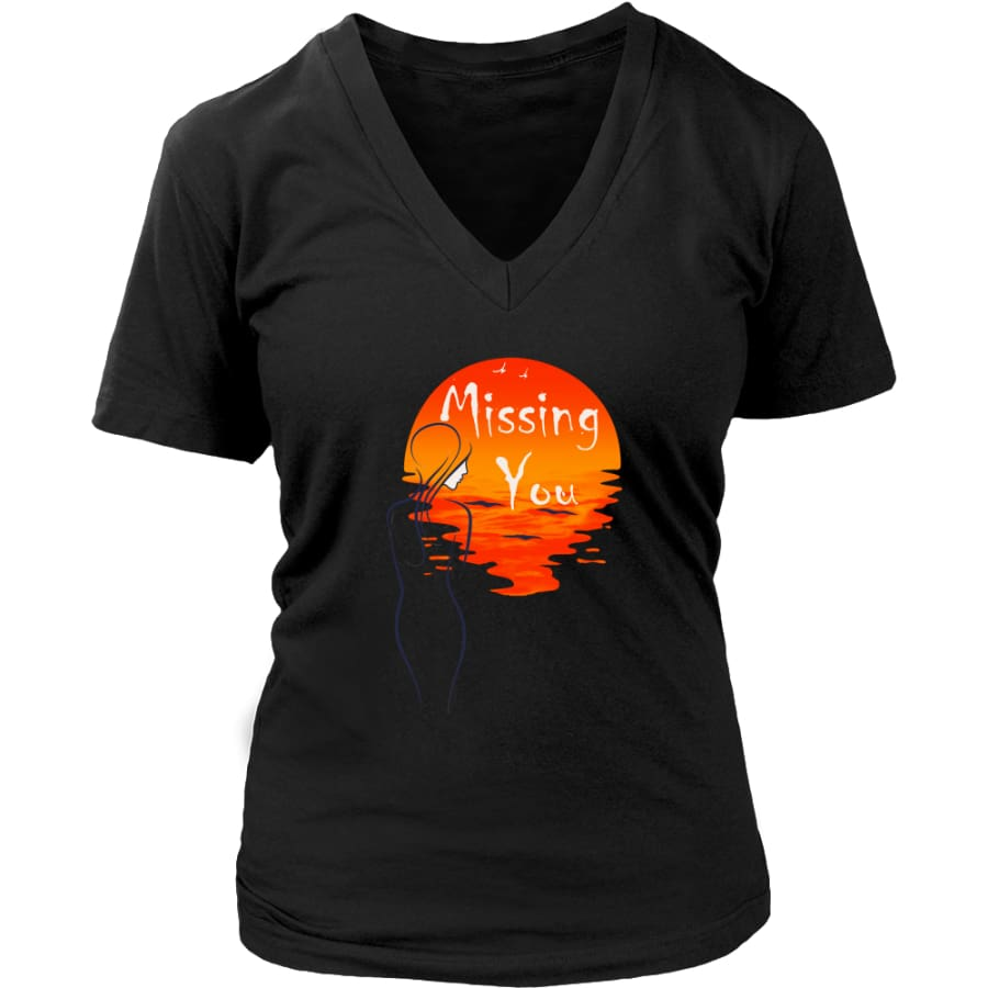 Missing You Forever In My Heart Women V-Neck T-shirt (8 colors) - District Womens / Black / S
