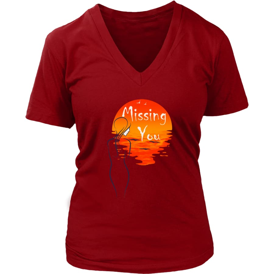 Missing You Forever In My Heart Women V-Neck T-shirt (8 colors) - District Womens / Red / S