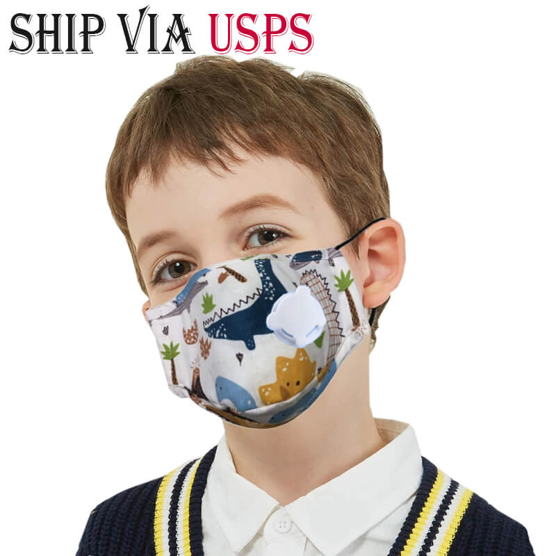 Ship from USA Kids Mask with Filter & Valve| 5-Layer PM2.5 Activated Carbon Filter Face Mask