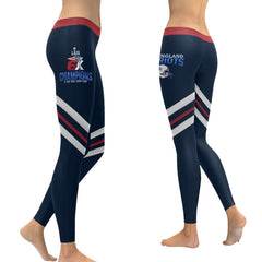 New England Patriots 6X Champs Leggings Blue Stripe Red Bell