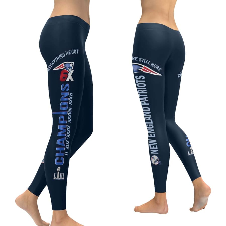 New England Patriots 6X Champs Leggings Navy Blue - XXS