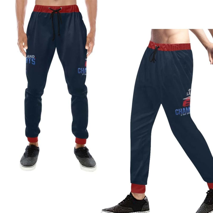 New England Patriots 6x Champs Mens Casual Sweatpants Navy Blue Red Jogger Pants - Unisex (Model L11) / XS