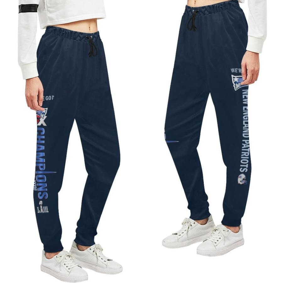 New England Patriots 6x Champs Womens Casual Sweatpants Navy Blue |SB LIII Jogger Pants - Unisex (Model L11) / XS