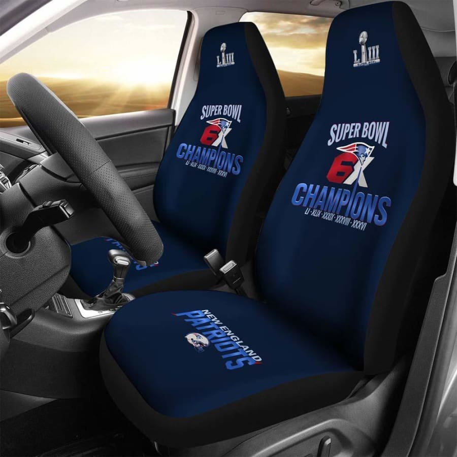 New England Patriots Car Seat Covers 2pcs | 6X Super Bowl Champs Cover Set