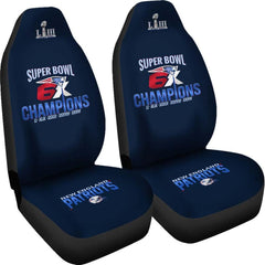 New England Patriots Car Seat Covers 2pcs| NFL 6X Super Bowl Champs Seat Cover Set