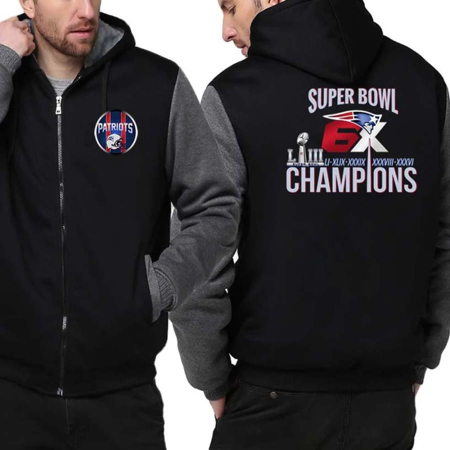 New England Patriots Jacket|6x Super Bowl Varsity Jackets (4 Colors) - Black Gray / S