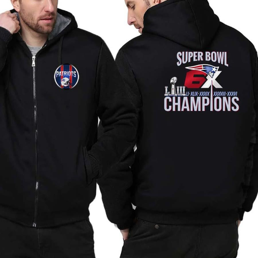 New England Patriots Jacket|6x Super Bowl Varsity Jackets (4 Colors) - Black / S