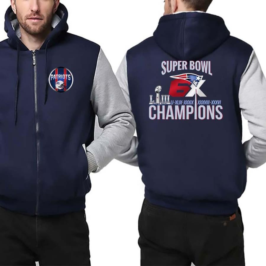 New England Patriots Jacket|6x Super Bowl Varsity Jackets (4 Colors) - Blue White / S