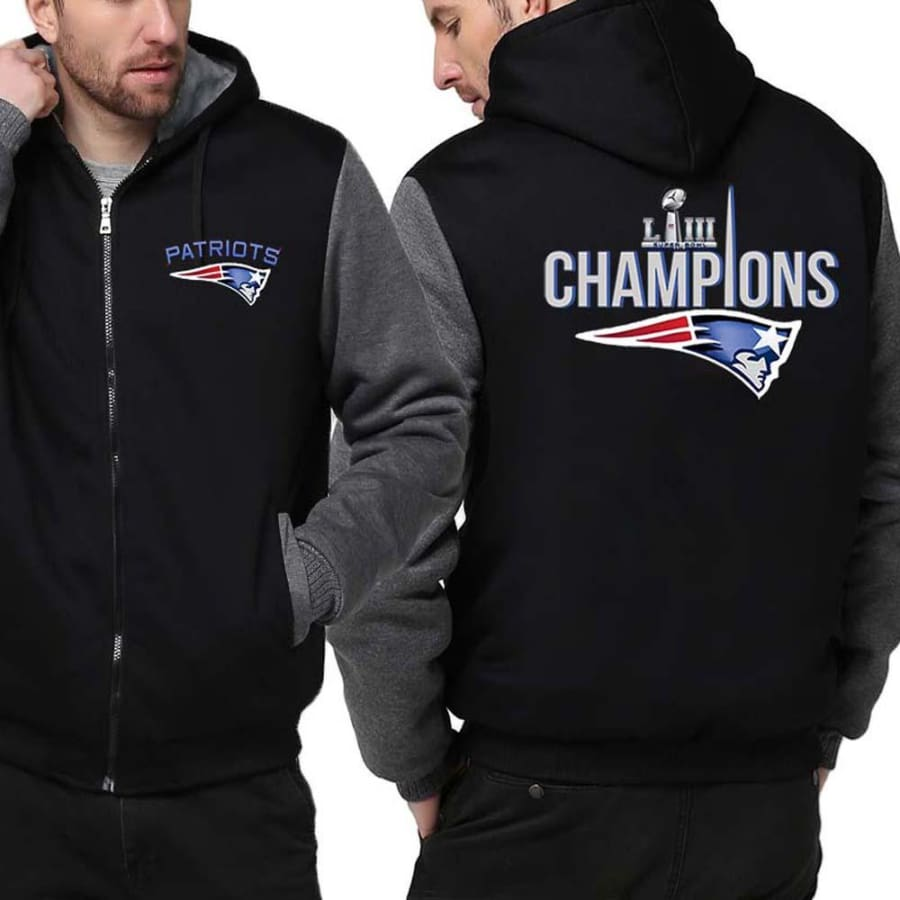 New England Patriots Jacket|Super Bowl LIII Varsity Jackets (4 Colors) - Black Gray / 4XL