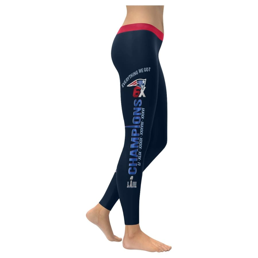 New England Patriots Leggings Navy Blue Red | 6x Champs Yoga Pants