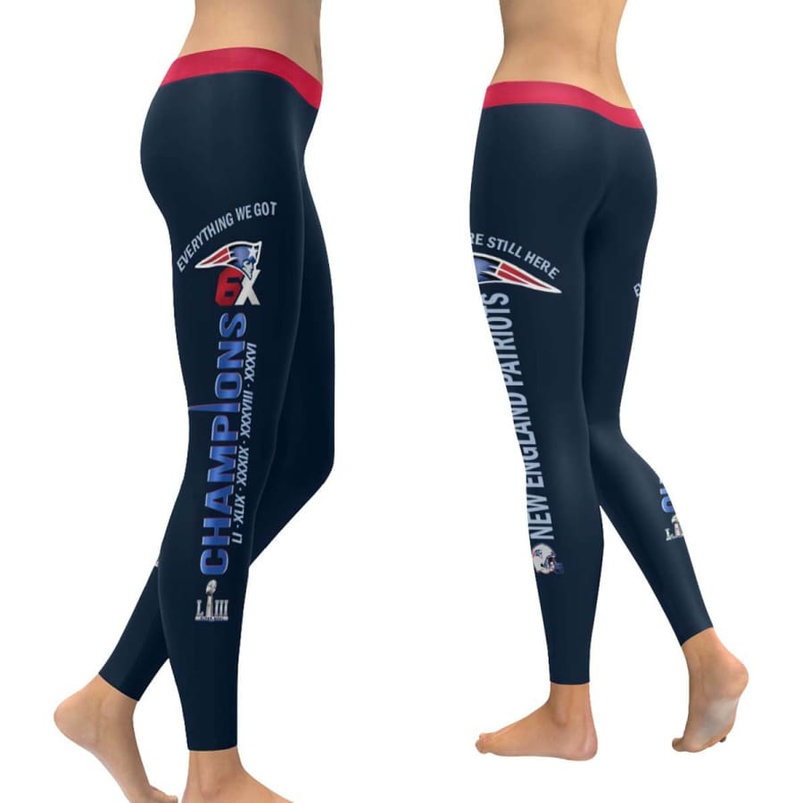 New England Patriots Leggings Navy Blue Red | 6x Champs Yoga Pants - XXS