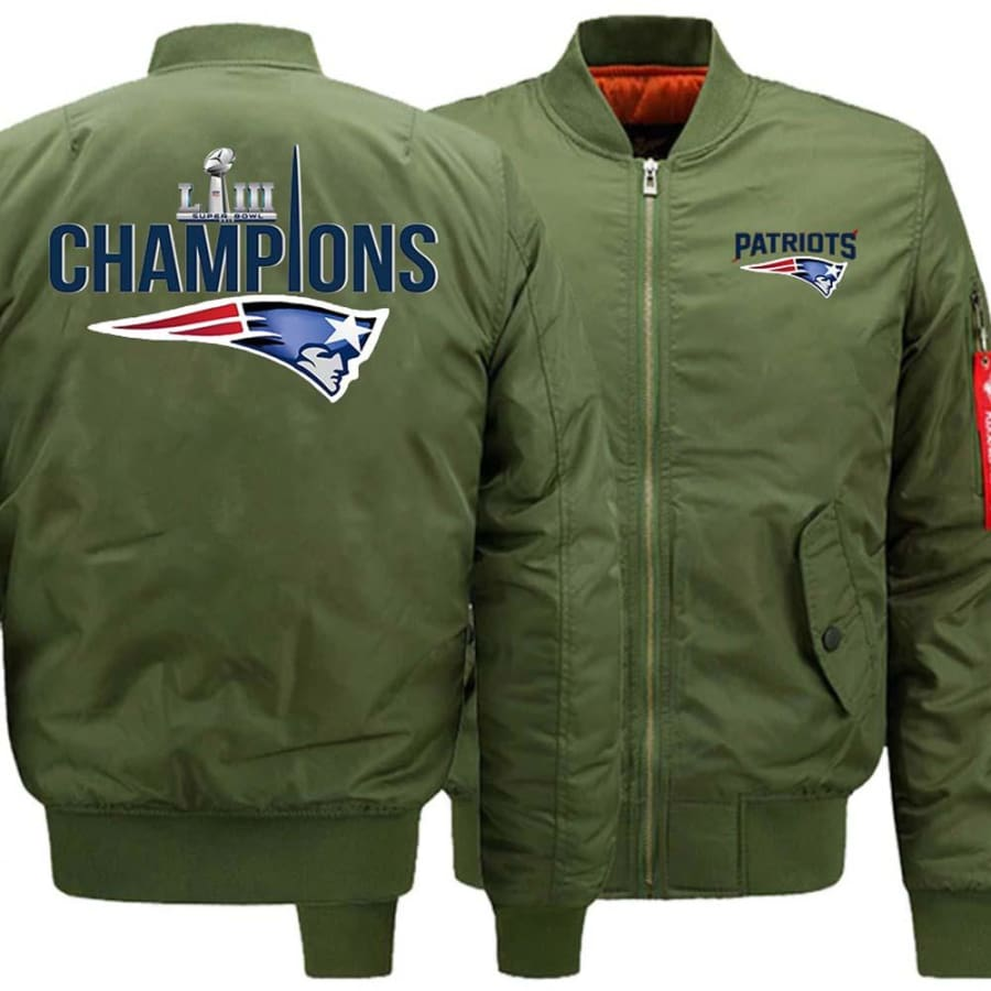 New England Patriots Ma-1 Bomber Jacket| Super Bowl LIII Varsity Jackets (3 Colors) - Army Green / S