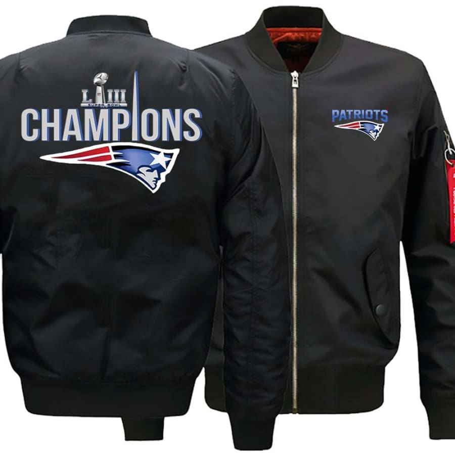New England Patriots Ma-1 Bomber Jacket| Super Bowl LIII Varsity Jackets (3 Colors) - Black / S