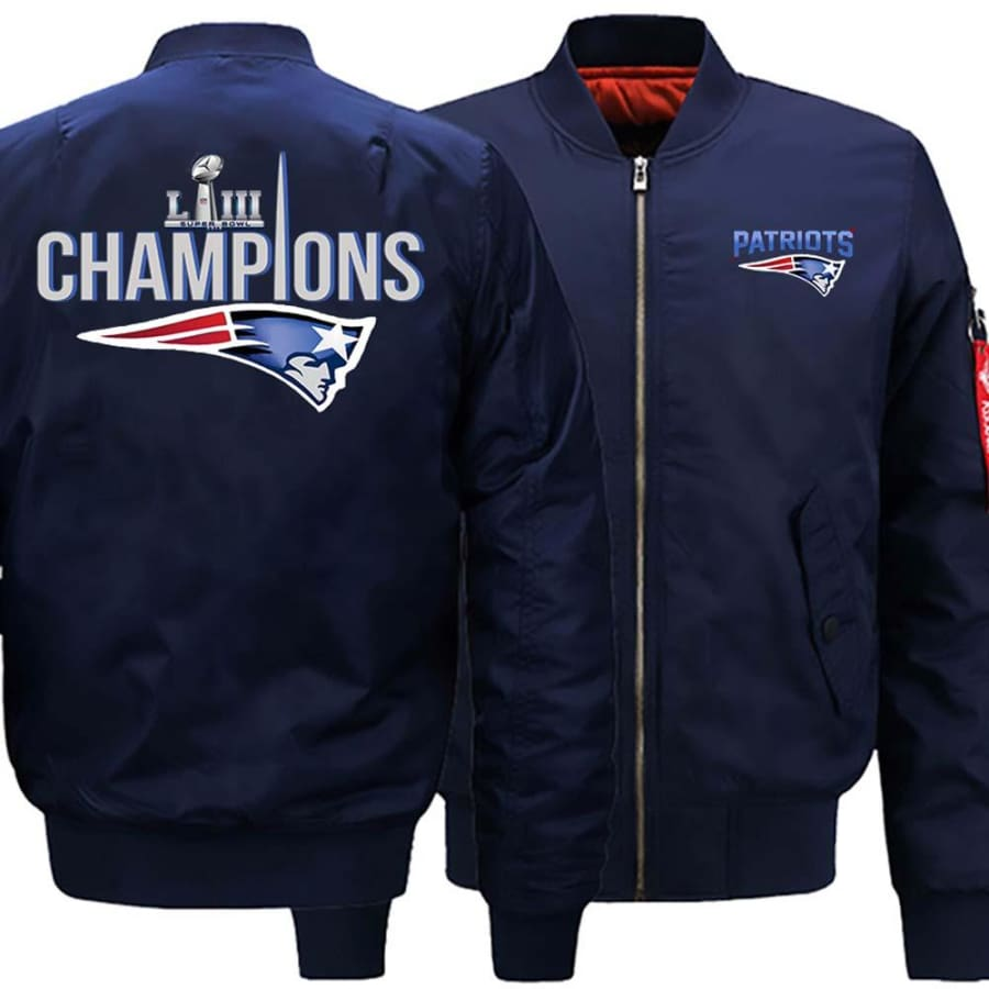New England Patriots Ma-1 Bomber Jacket| Super Bowl LIII Varsity Jackets (3 Colors) - Dark Blue / S