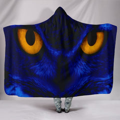 Owl Eyes Plush Lined Hooded Wearable Blanket