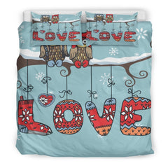 Owl Love Bedding Set|Owl Bedding Twin/ Queen/ King Size