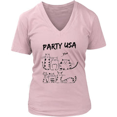 """Party USA"" Cat Lover Women V-Neck T shirt (6 colors)"