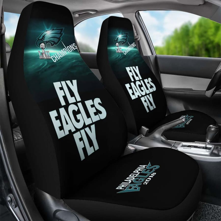 Philadelphia Eagles Car Seat Cover 2pcs Midnight Green Black Fly Super Bowl LII Champs