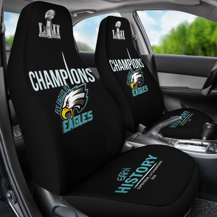 Philadelphia Eagles Champs Car Seat Covers 2pcs Midnight Green Black Super Bowl LII - Champions - Premium Cover / One Size