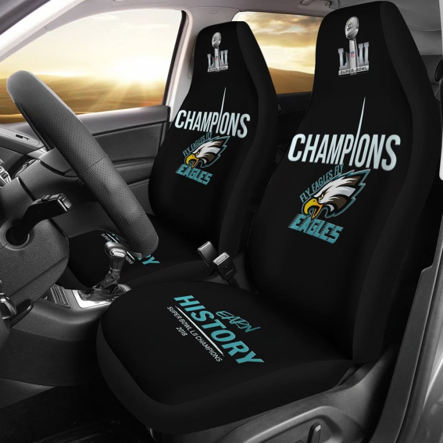 Philadelphia Eagles Champs Car Seat Covers 2pcs Midnight Green Black Super Bowl LII