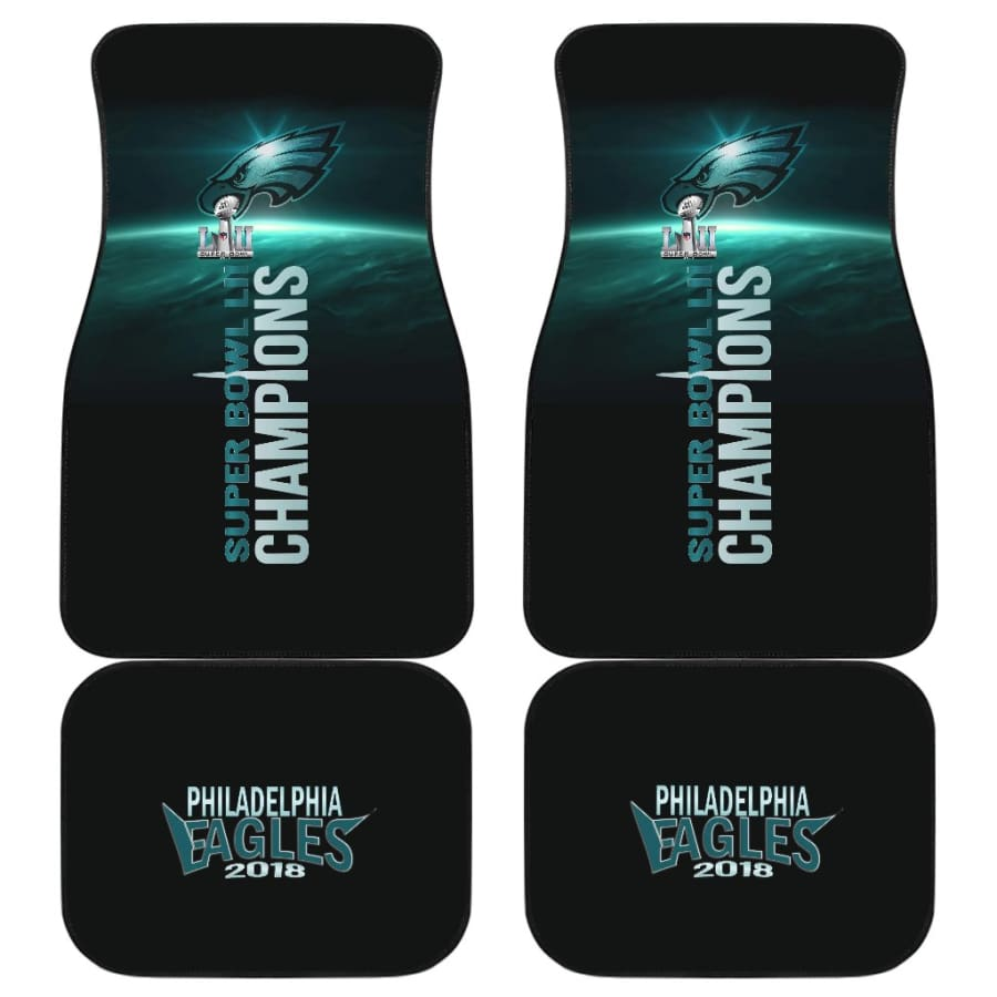 Philadelphia Eagles Front Back Car Mat 4pcs Set | Super Bowl Champs Floor Mats - And Of 4 - Universal Fit