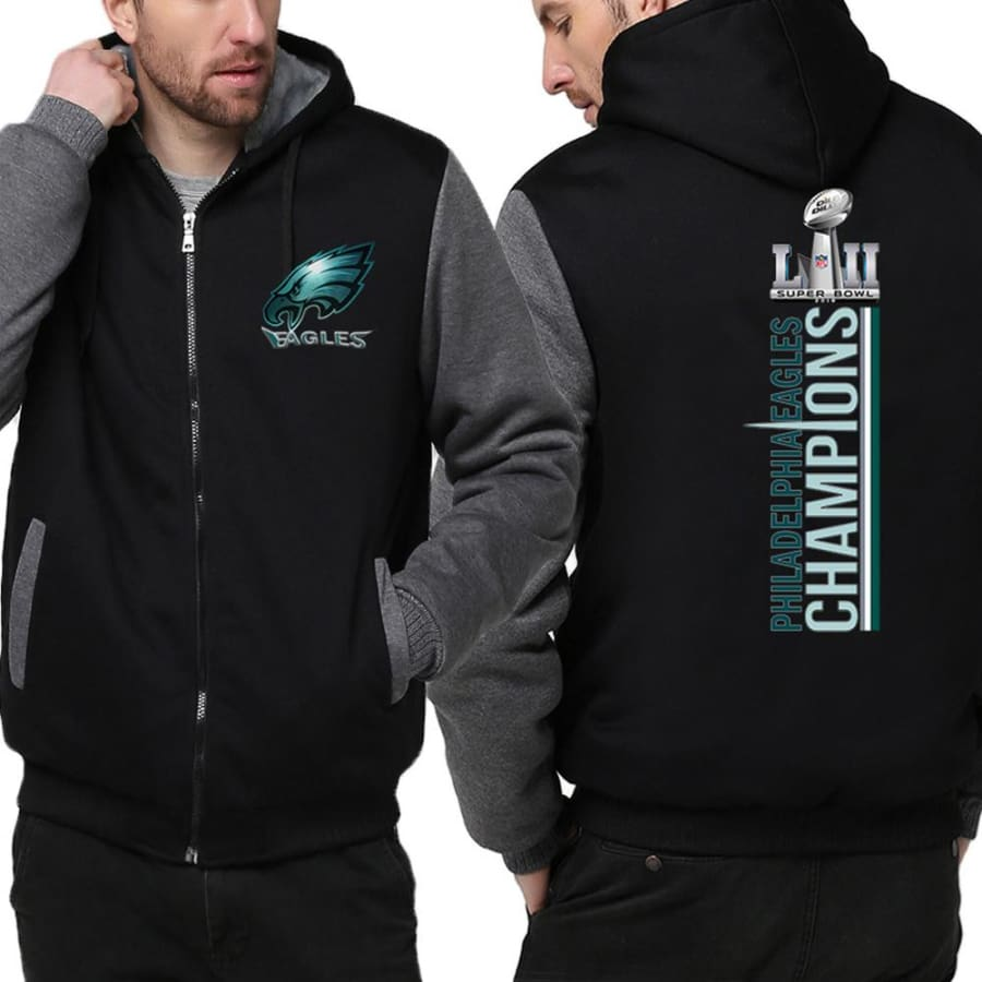 Philadelphia Eagles Jacket| Varsity Jackets|Mens Pullover Hoodie (2 Colors) - Black Gray / S