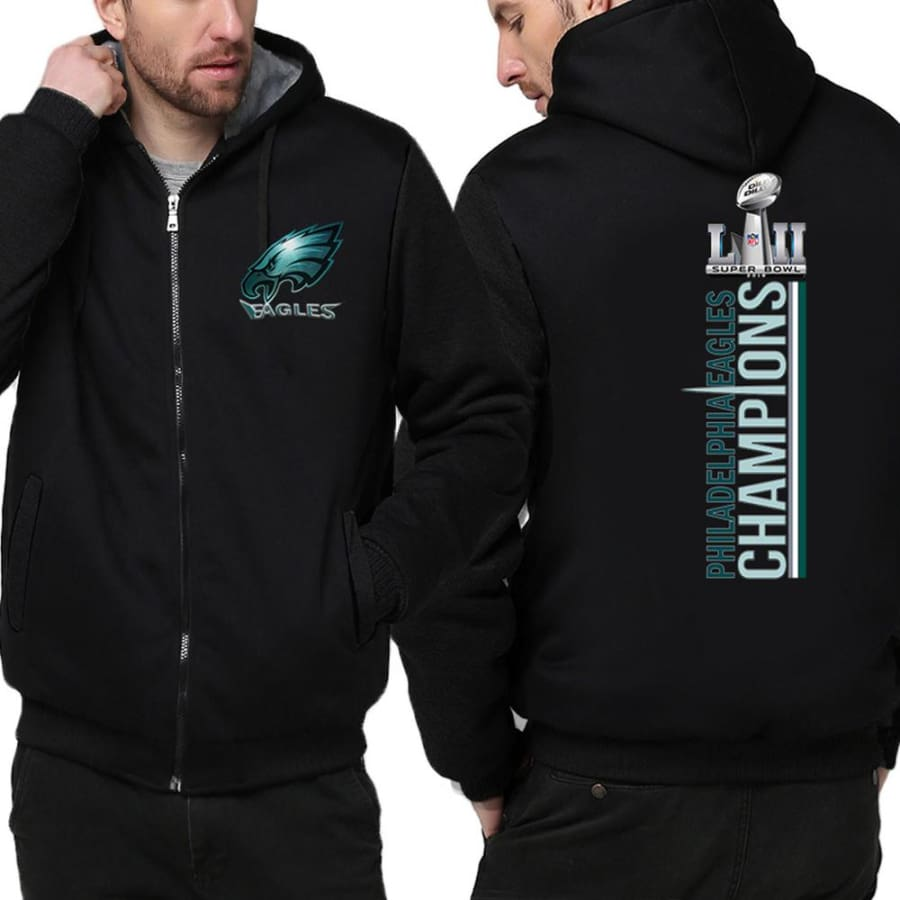 Philadelphia Eagles Jacket| Varsity Jackets|Mens Pullover Hoodie (2 Colors) - Black / S