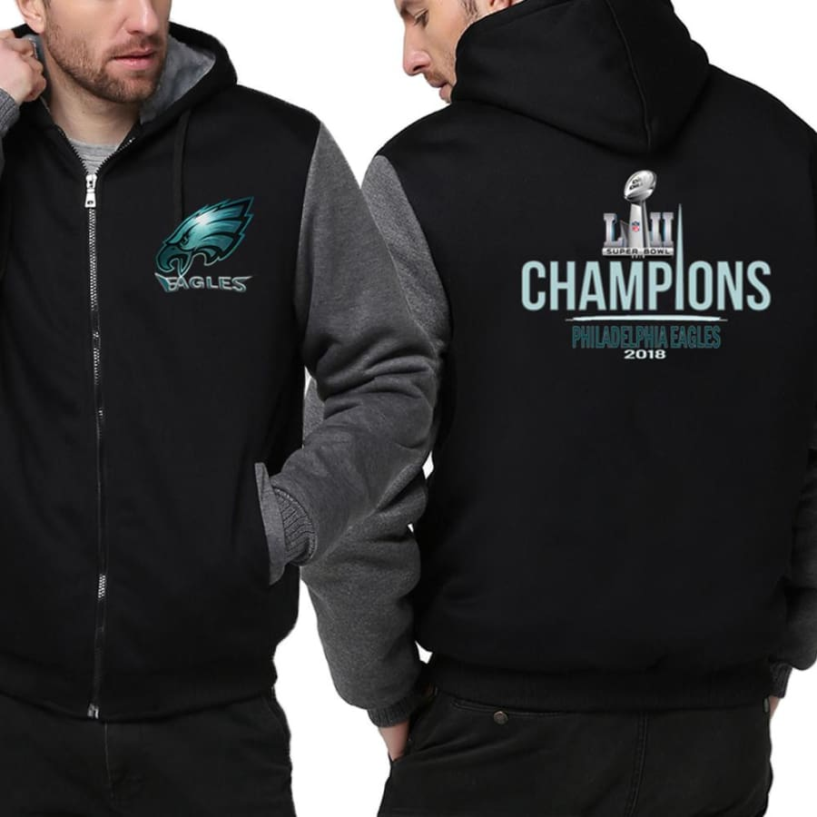 Philadelphia Eagles Jacket|Super Bowl Varsity Jackets| Pullover Hoodie (4 Colors) - Black Gray / S