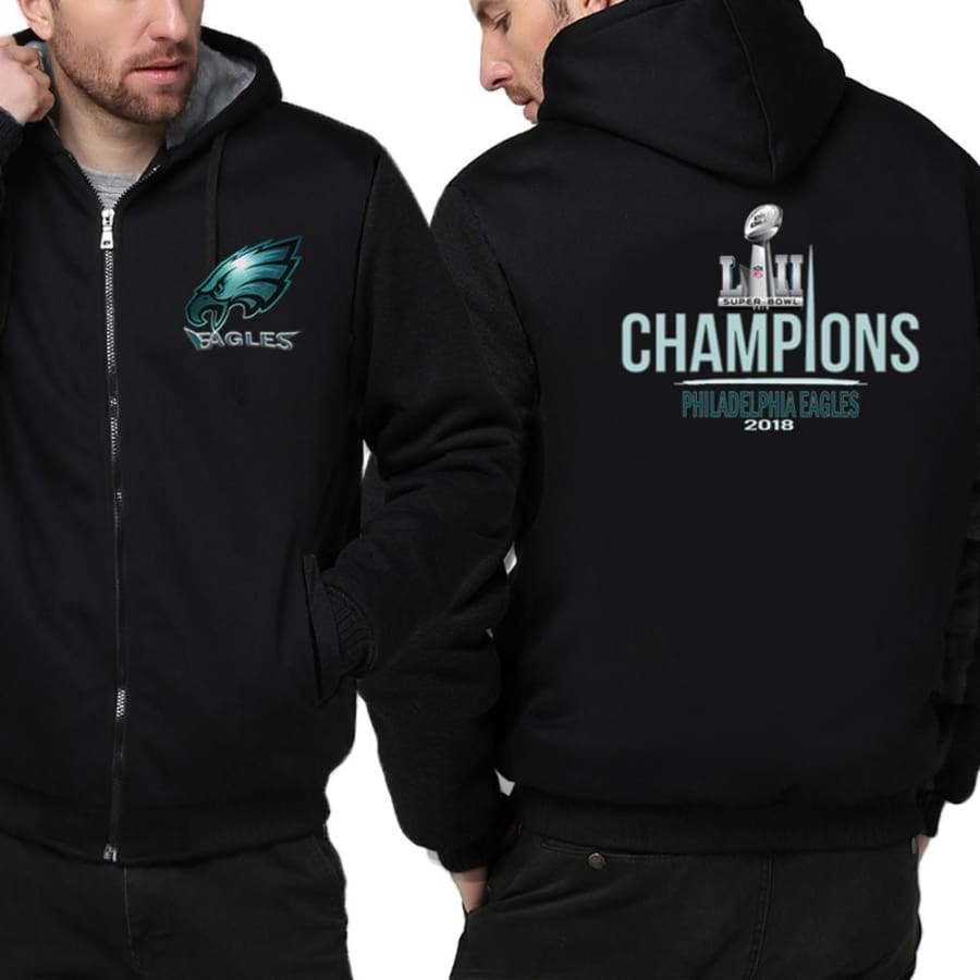 Philadelphia Eagles Jacket|Super Bowl Varsity Jackets| Pullover Hoodie (4 Colors) - Black / S