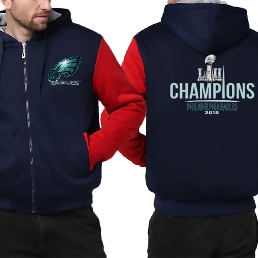 Philadelphia Eagles Jacket|Super Bowl Varsity Jackets| Pullover Hoodie (4 Colors) - Blue Red / S
