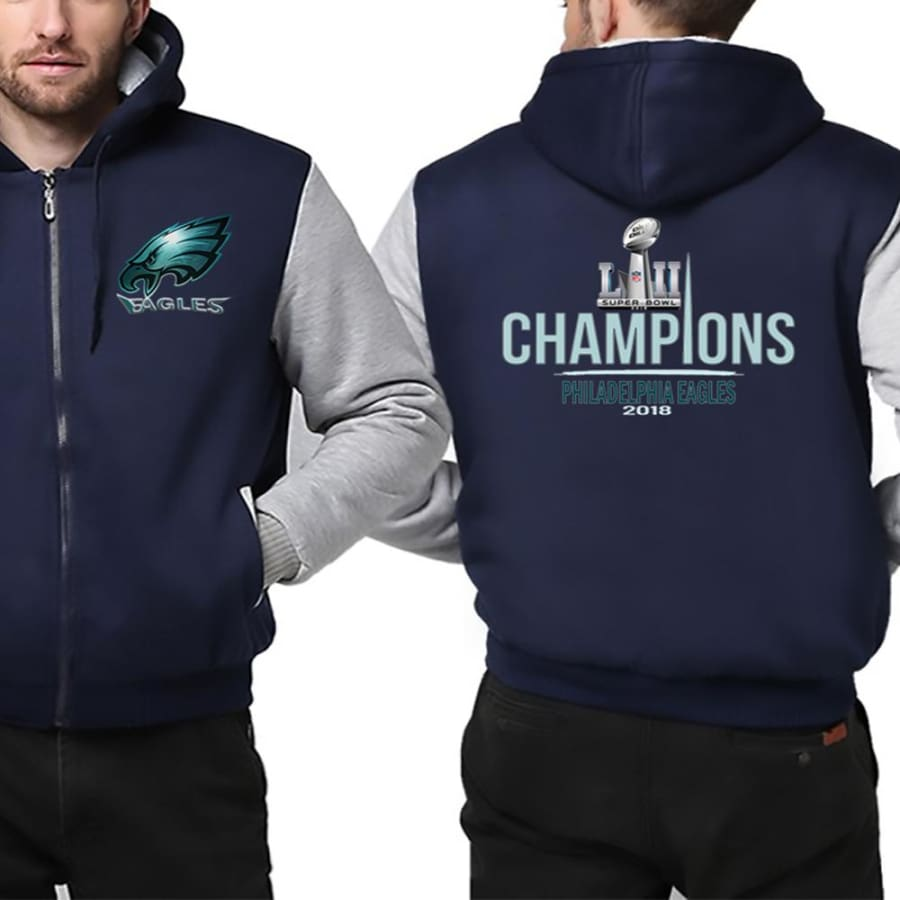 Philadelphia Eagles Jacket|Super Bowl Varsity Jackets| Pullover Hoodie (4 Colors) - Blue White / S